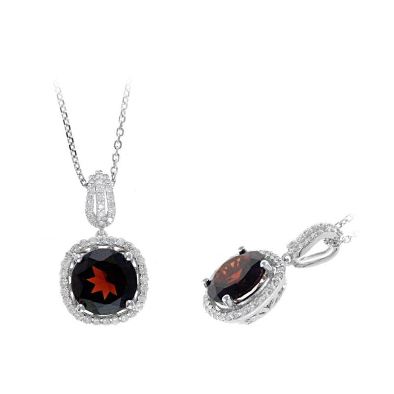 Ryan Gems 14 Karat White Gold Garnet and Diamond Pendant Necklace