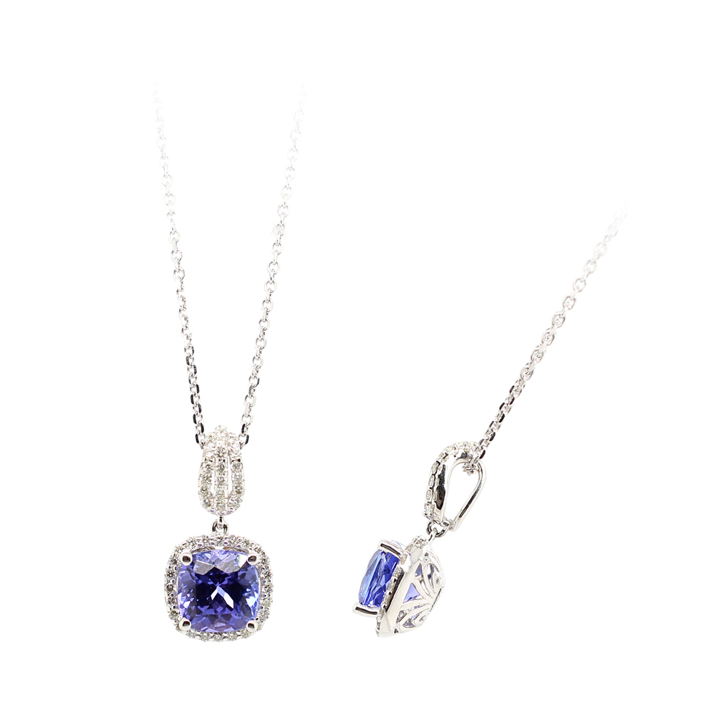 Ryan Gems 14 Karat White Gold Tanzanite and Diamond Pendant Necklace