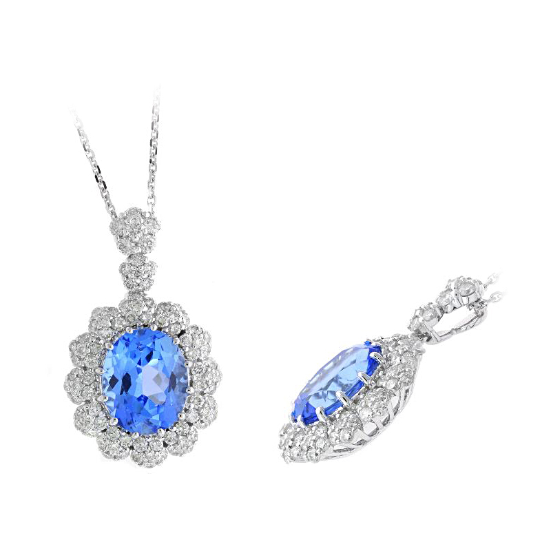 Ryan Gems 14 Karat White Gold Blue Topaz and Diamond Pendant Necklace