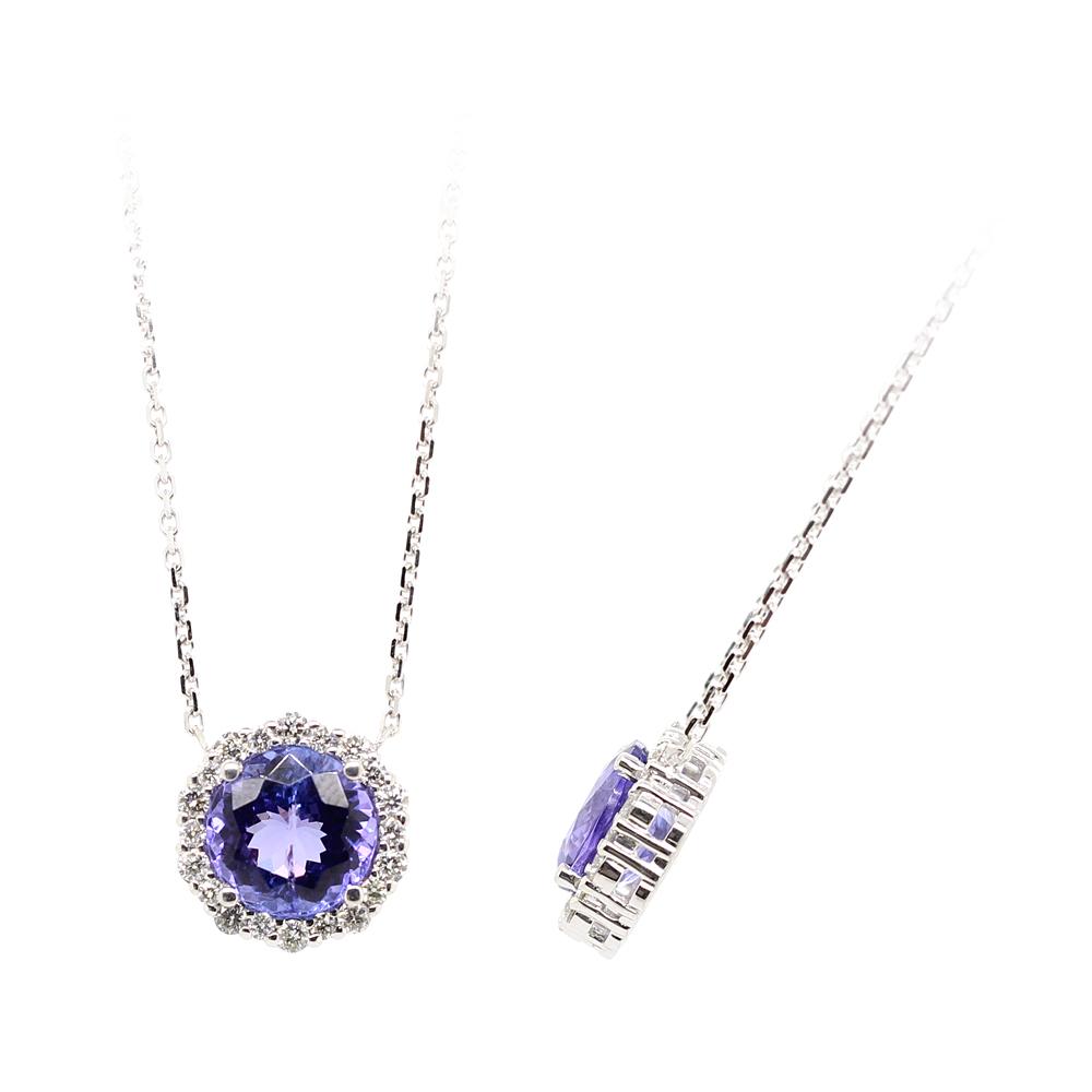 Ryan Gems 14 Karat White Gold Tanzanite and Diamond Pendant Necklace