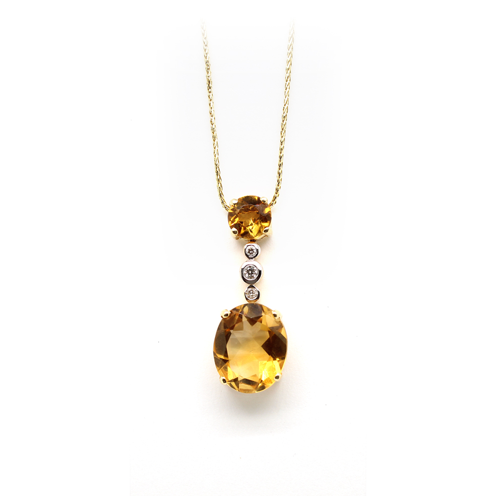 Ryan Gems 14 Karat Kellow Gold Citrine and Diamond Pendant Necklace