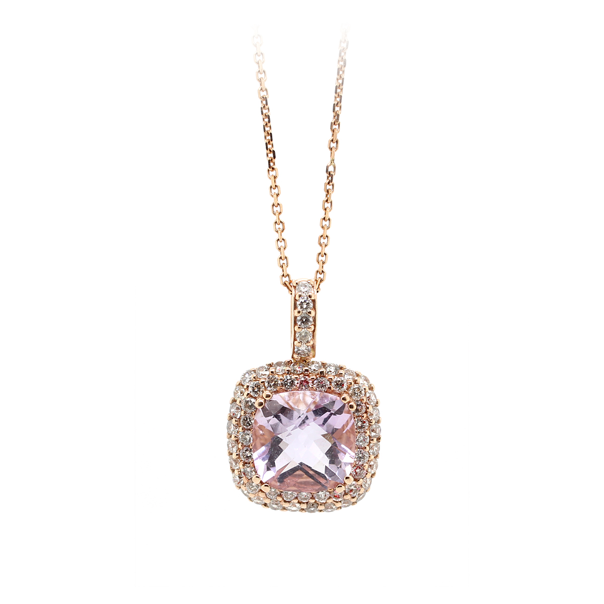 Ryan Gems 14 Karat Rose Gold Amethyst and Diamond Pendant Necklace