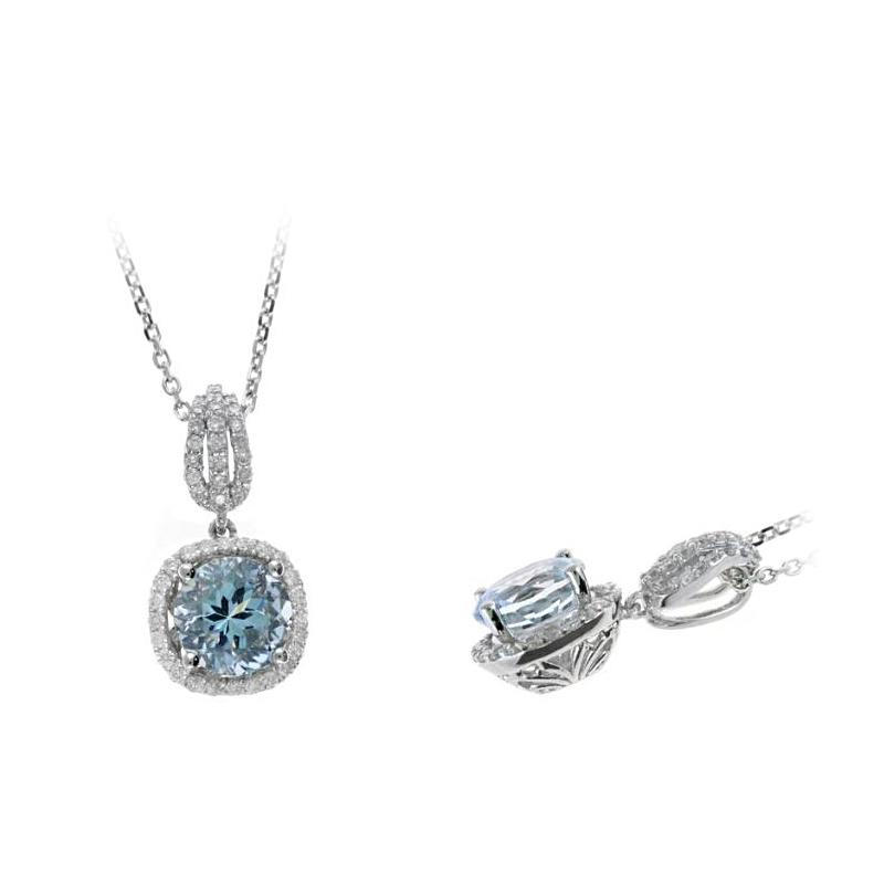 Ryan Gems 14 Karat White Gold Faceted Aqua and Diamond Pendant Necklace