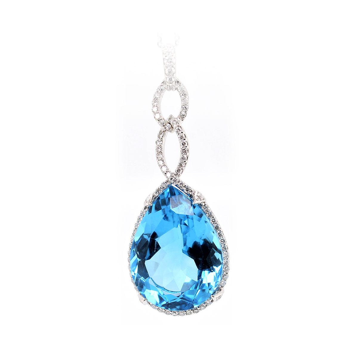 14 Karat White Gold Pear Shaped Blue Topaz and Diamond Necklace
