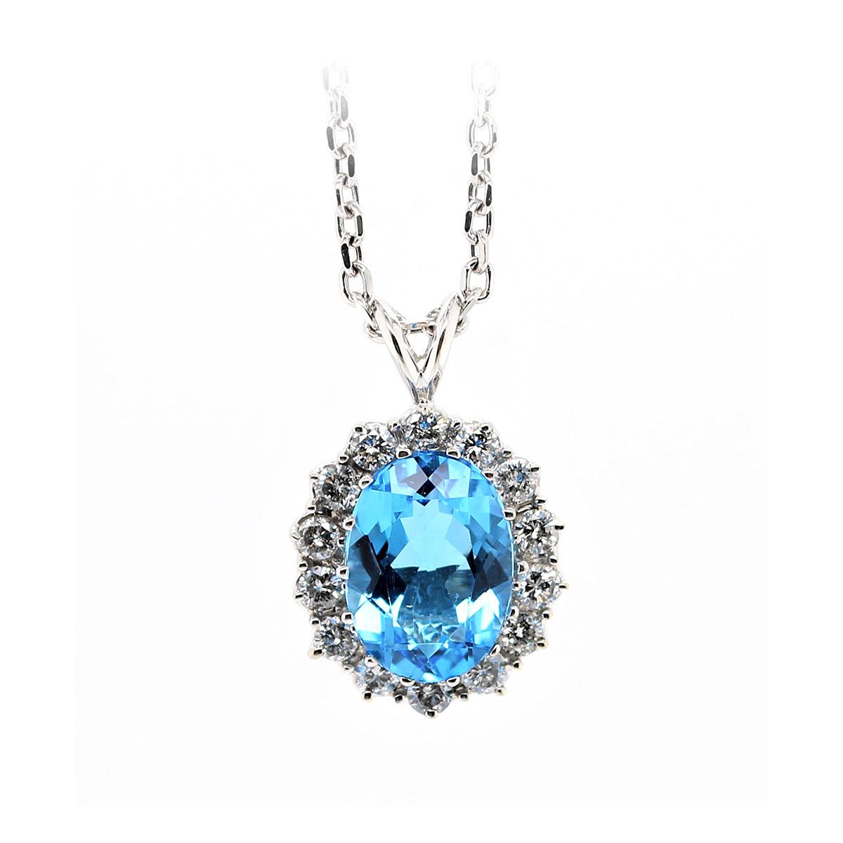 14 Karat White Gold Oval Blue Topaz and Diamond Necklace