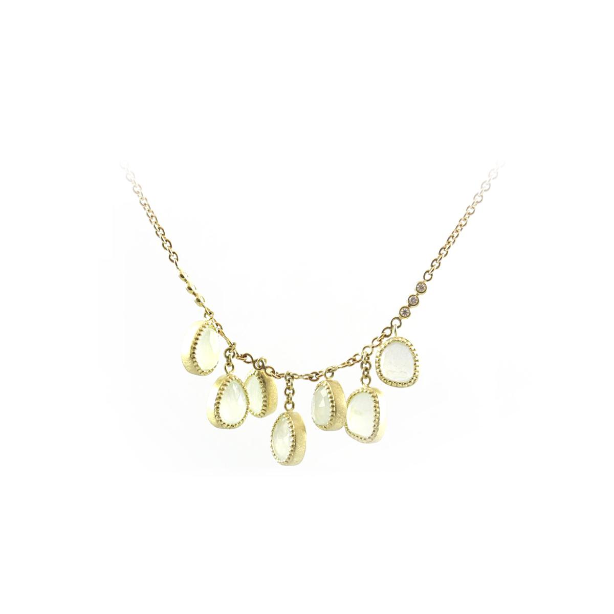 Lauren K 18 Karat Yellow Gold Freeform Aqua and Diamond Necklace