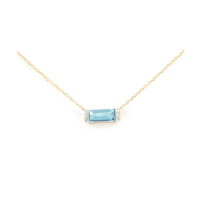 14K Yellow Gold Diamond Blue Topaz Bar Pendant