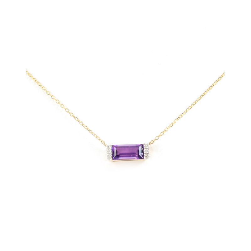 14K Yellow Gold Diamond Amethyst Bar Pendant