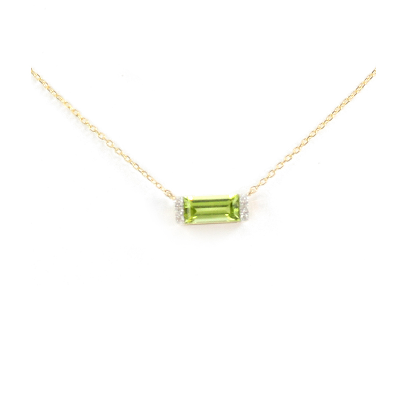 14K Yellow Gold Diamond Peridot Bar Pendant