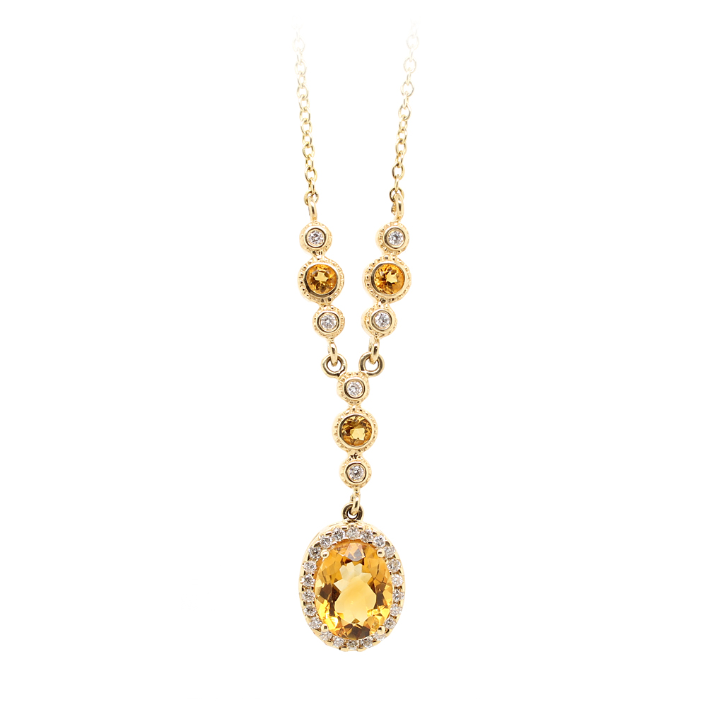 Ryan Gems 14 Karat Yellow Gold Citrine and Diamond Lariat Necklace