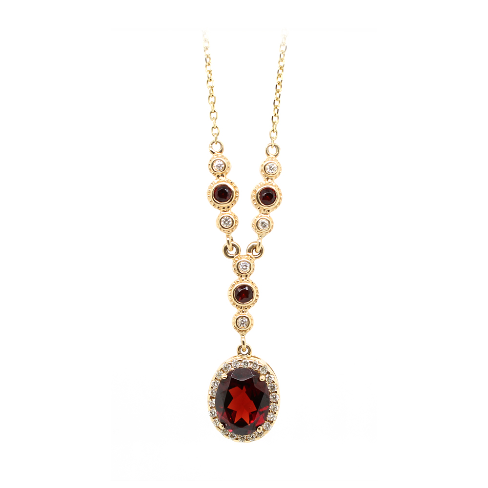 Ryan Gems 14 Karat Yellow Gold Garnet and Diamond Lariat Necklace