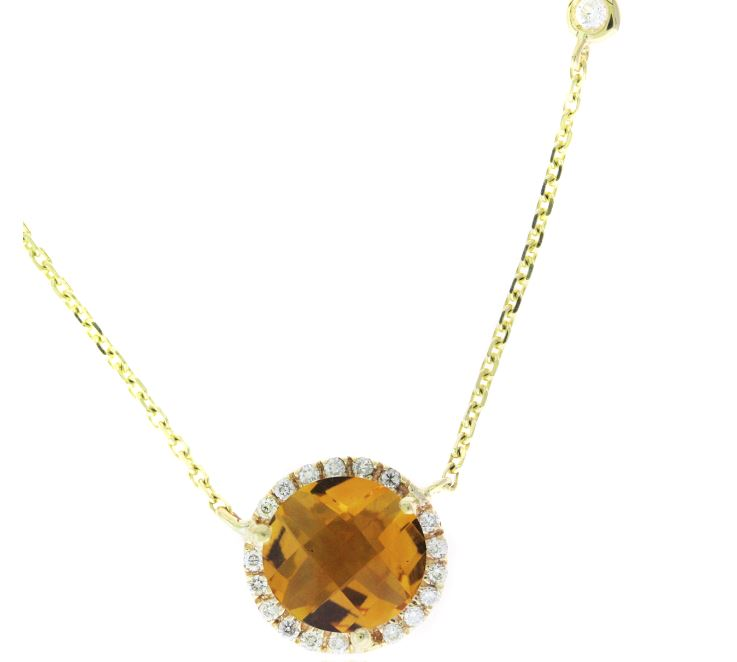 Ryan Gems 14 Karat White Gold Citrine and Diamond Station Necklace