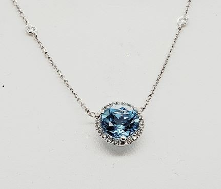 Ryan Gems 14 Karat White Gold Blue Topaz and Diamond Station Necklace