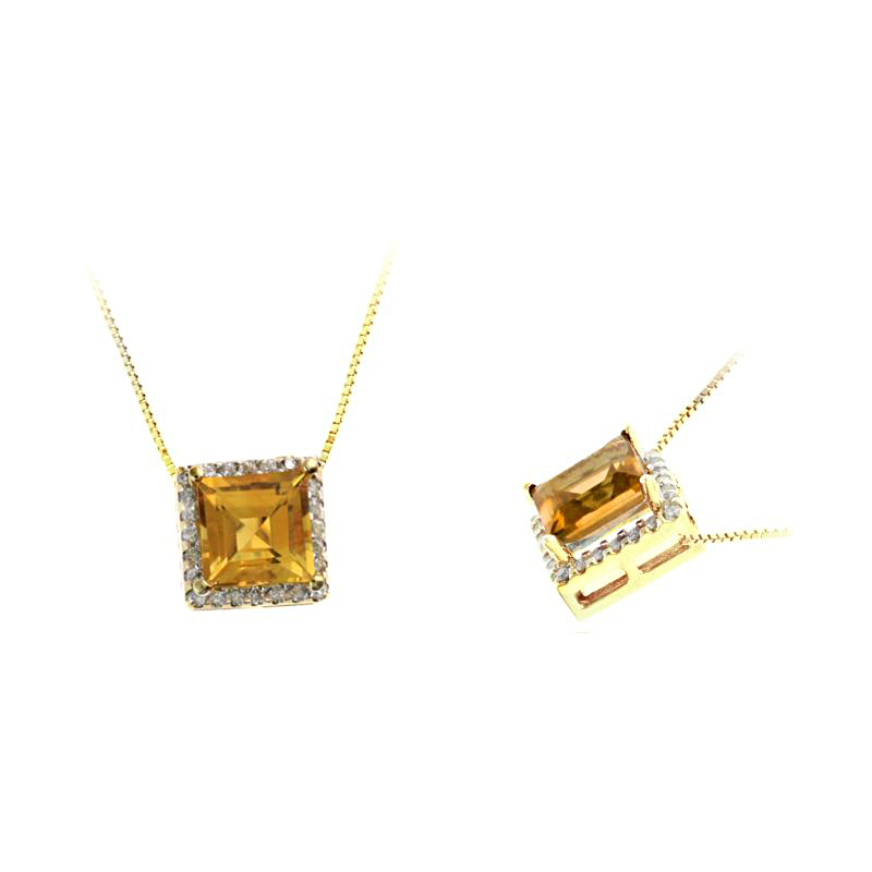 Ryan Gems 14 Karat Yellow Gold Square Citrine and Diamond Pendant Necklace