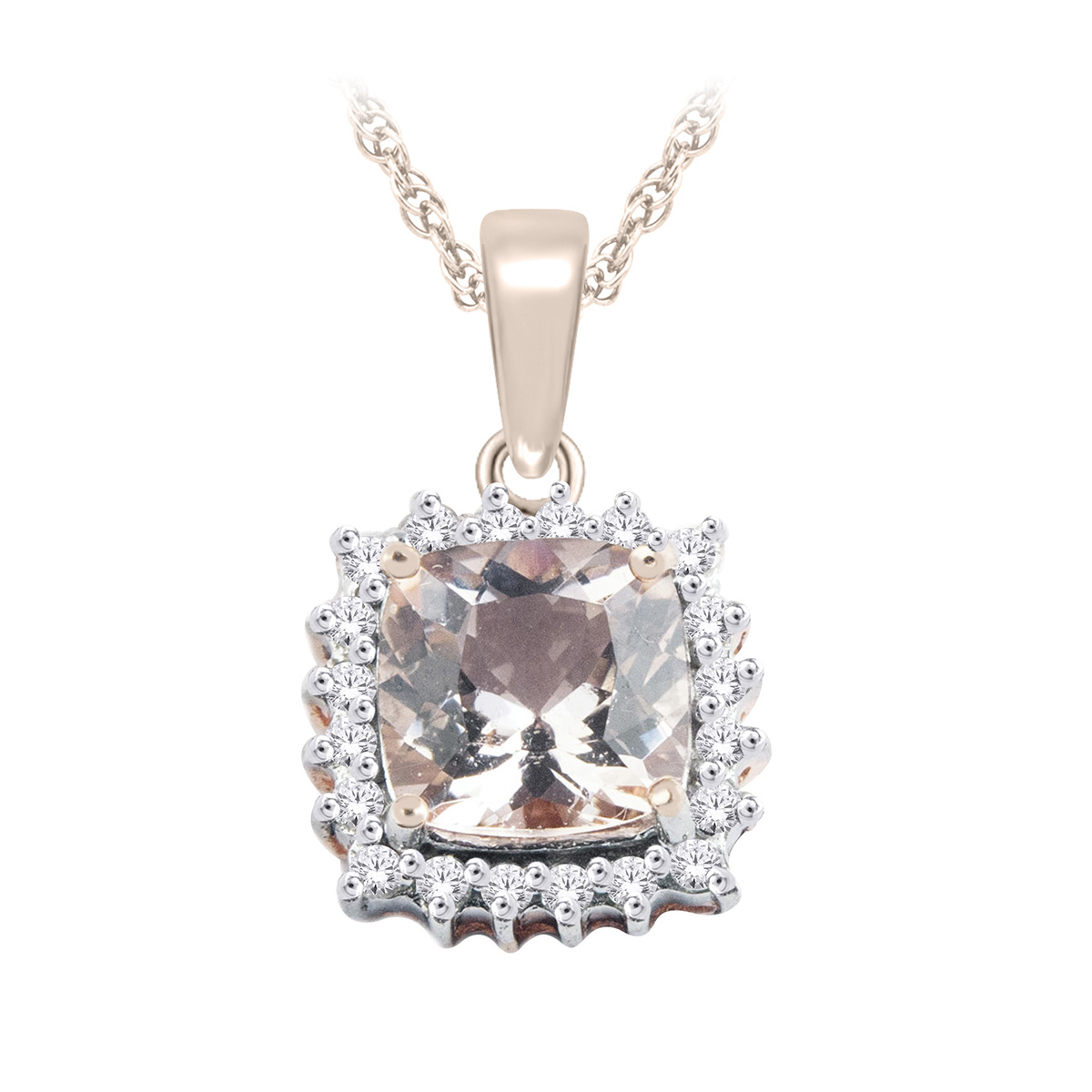10 Karat Rose Gold Morganite and Diamond Necklace