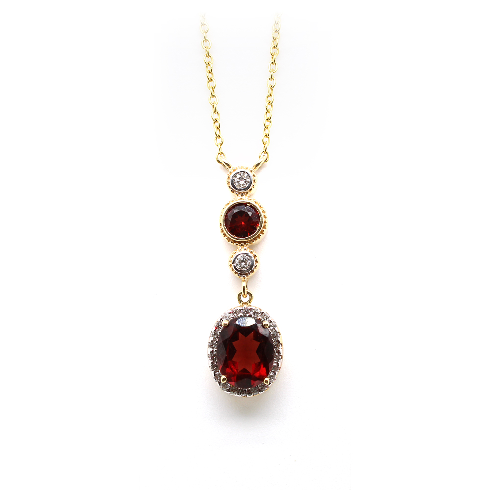 Ryan Gems 14 Karat Yellow Gold garnet and Diamond Pendant Necklace
