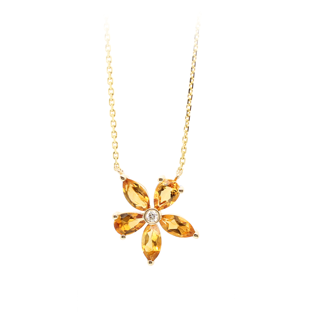 Ryan Gems 14 Karat Yellow Gold Citrine and Diamond Flower Necklace