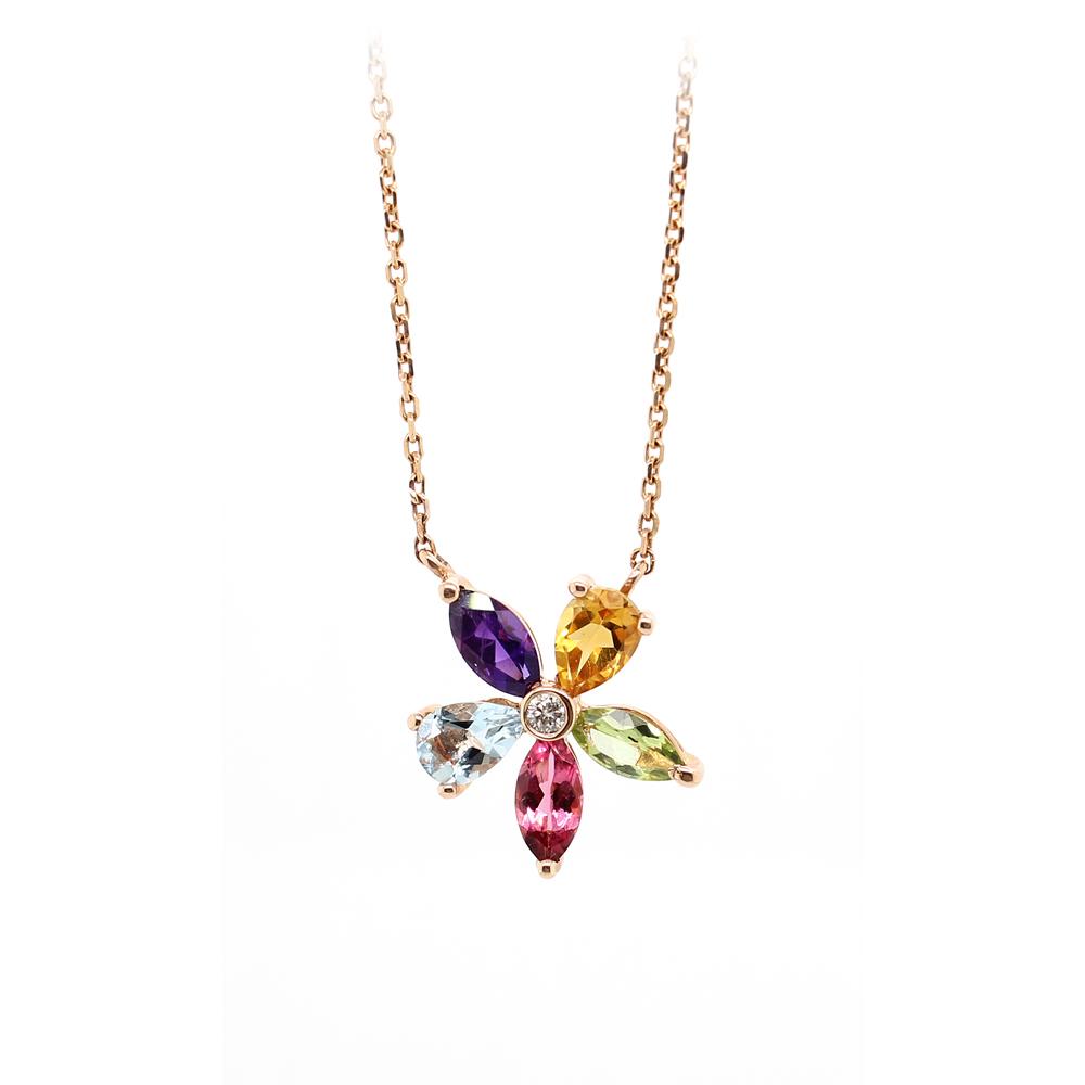 Ryan Gems 14 Karat Rose Gold Multi-Stone Flower Necklace