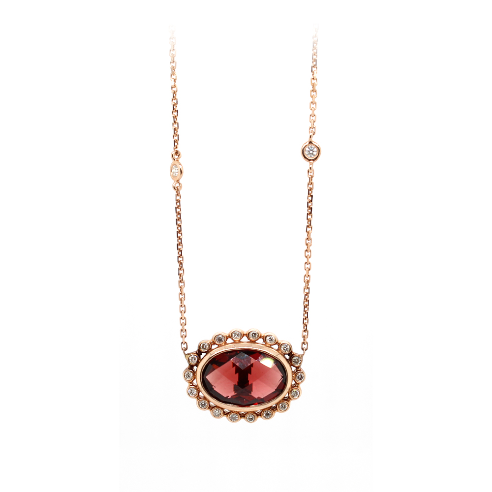 Ryan Gems 14 Karat Rose Gold Garnet and Diamond Necklace