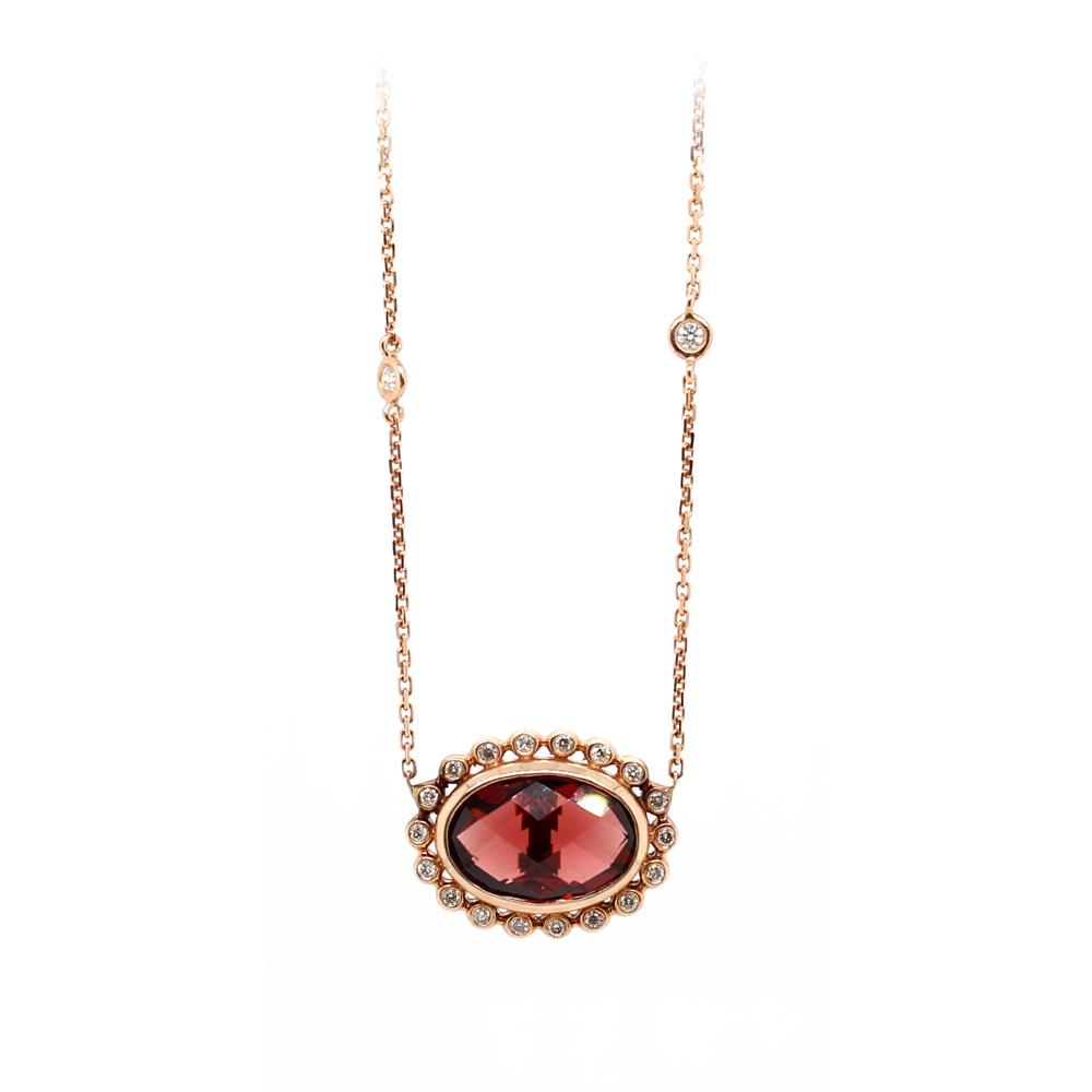 Ryan Gems 14 Karat Rose Gold Garnet and Diamond Necklace