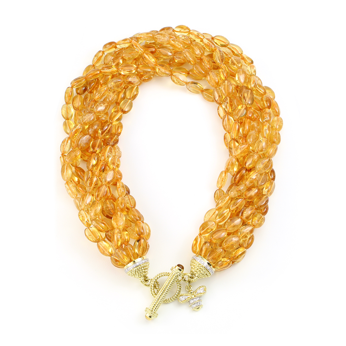 18 Karat Yellow Gold Citrine Nugget Necklace with Diamond Bee Clasp