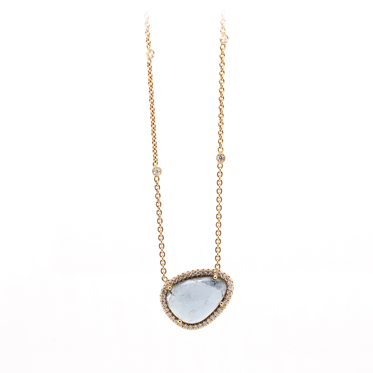 Lauren K 18 Karat Rose Gold Blue Topaz and Diamond Layla Necklace