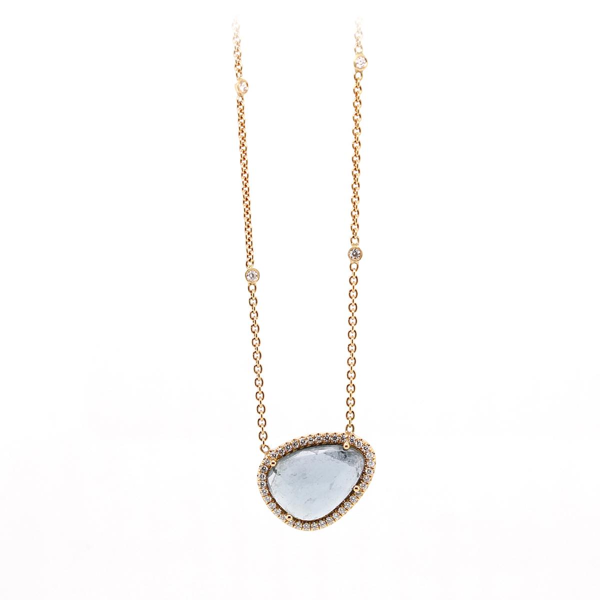 Lauren K 18 Karat Rose Gold Blue Topaz and Diamond Layla Necklace