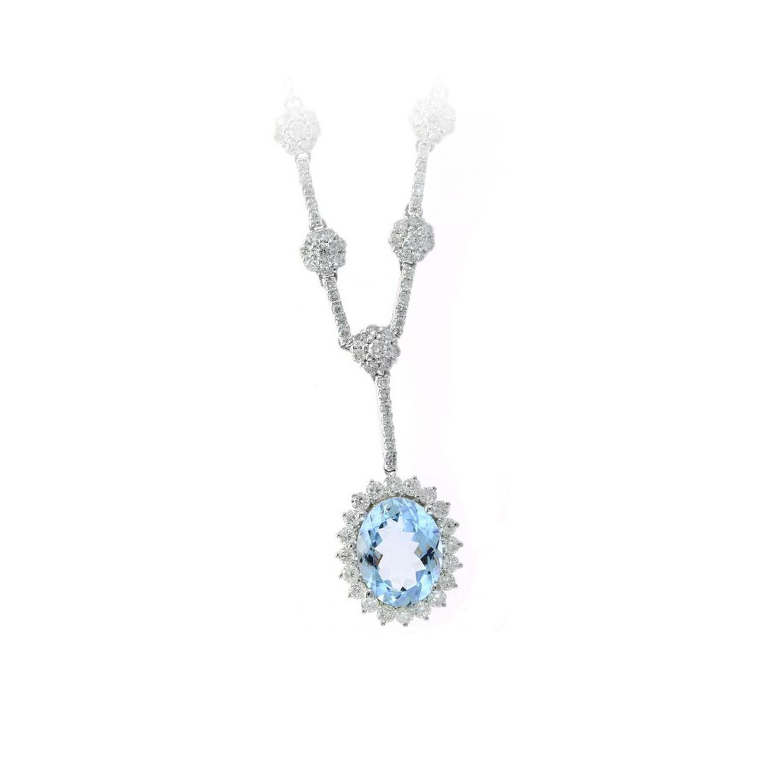 14 Karat White Gold Oval Aqua and Diamond Station Necklace