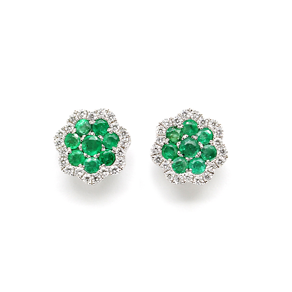 Amden Jewelry 14 Karat White Gold Diamond and Emerald Stud Earrings