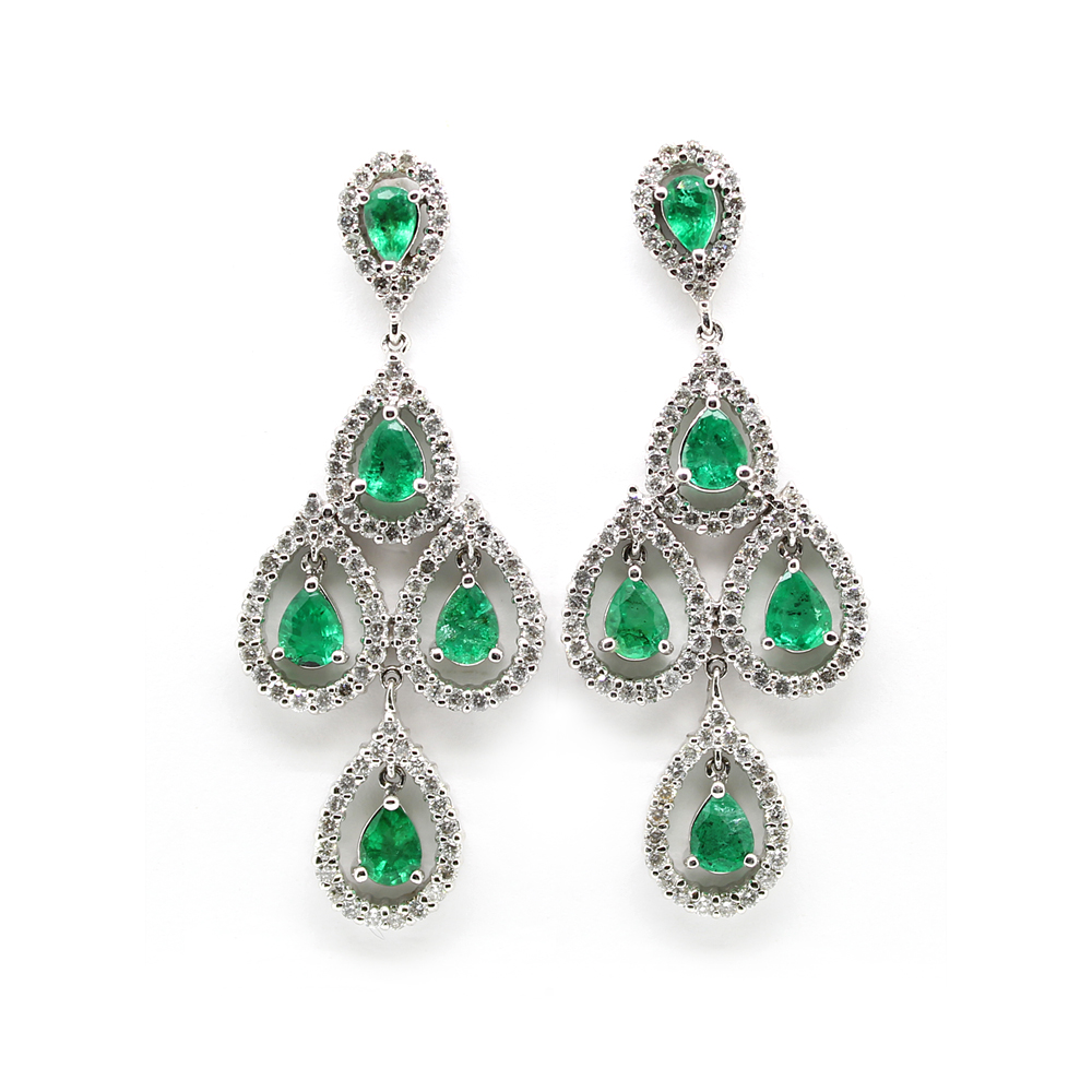 Ryan Gems 14 Karat White Gold Emerald and Diamond Chandelier Earrings
