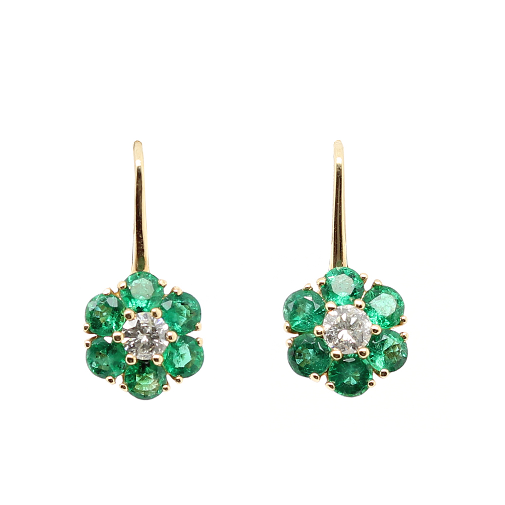 Ryan Gems 14 Karat Yellow Gold Emerald and Diamond Flower Earrings