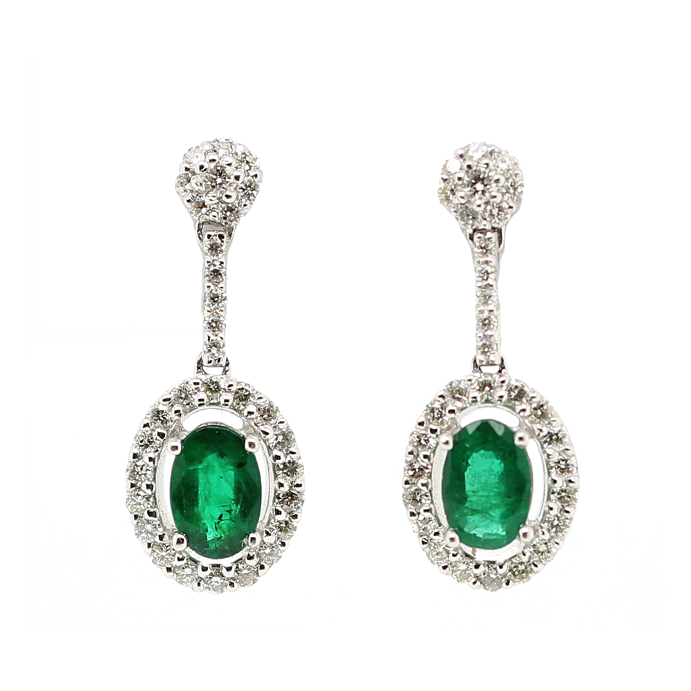 Ryan Gems 14 Karat White Gold Emerald and Diamond Dangle Earrings