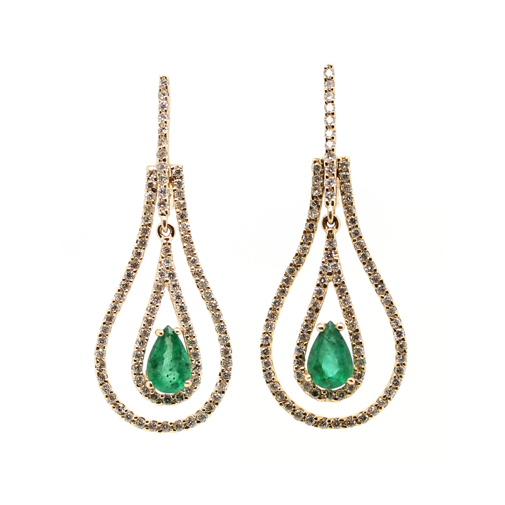 Ryan Gems 14 Karat Yellow Gold Emerald and Diamond Dangle Earrings