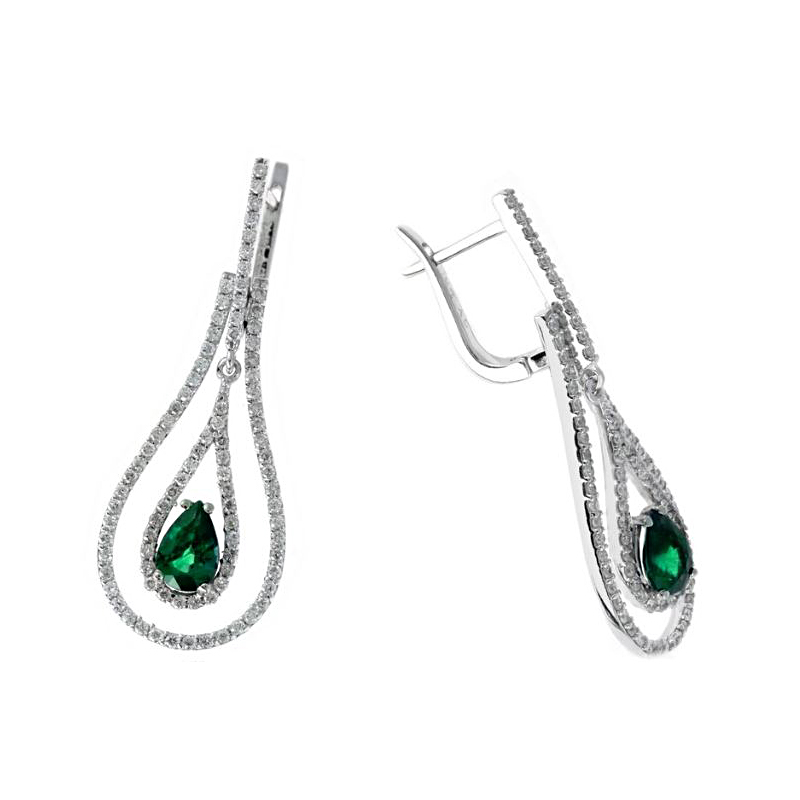 Ryan Gems 14 Karat White Gold Emerald Dangle Earrings