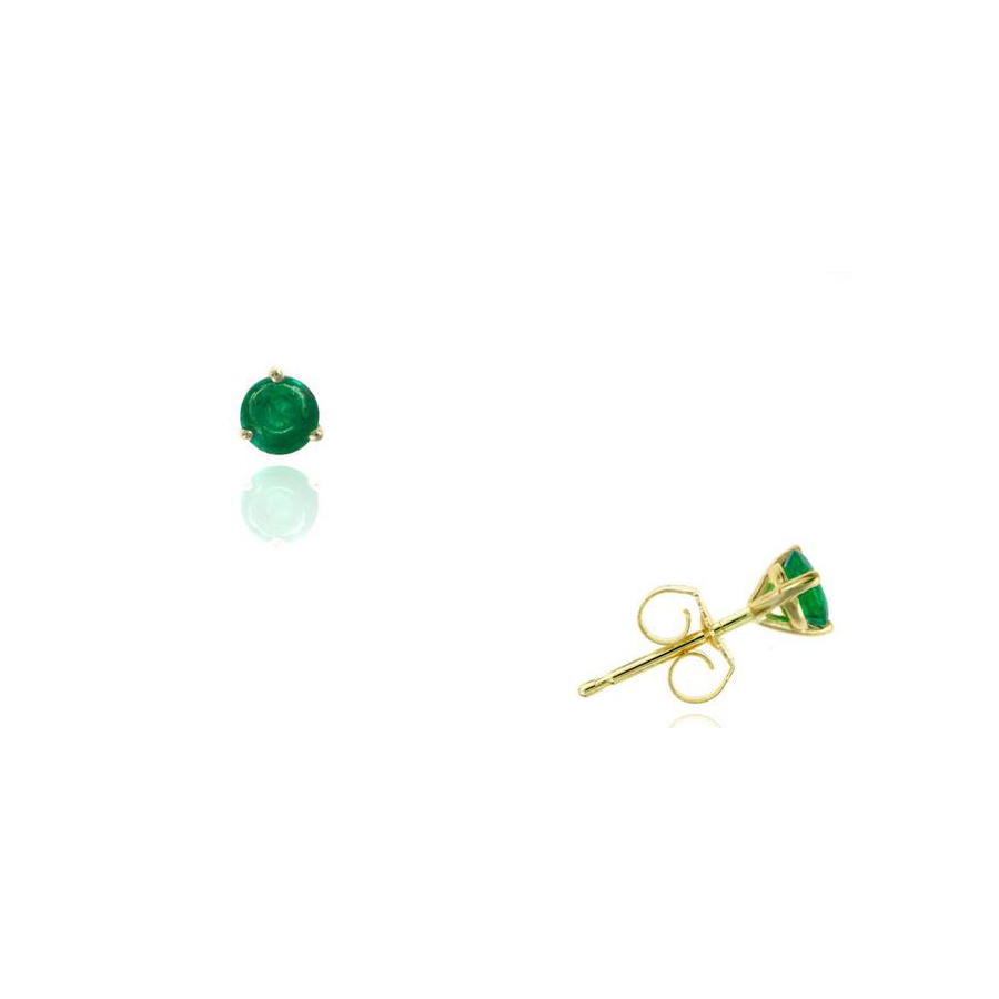 Ryan Gems 14 Karat Yellow Gold Round Emerald Martini Stud Earrings