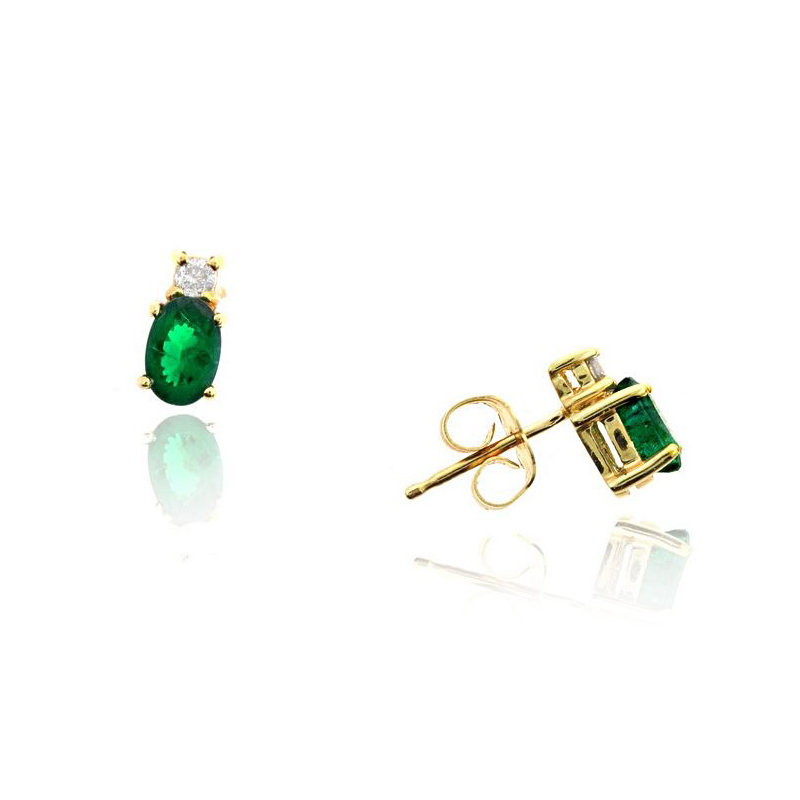Ryan Gems 14 Karat Yellow Gold Oval Emerald and Diamond Stud Earrings