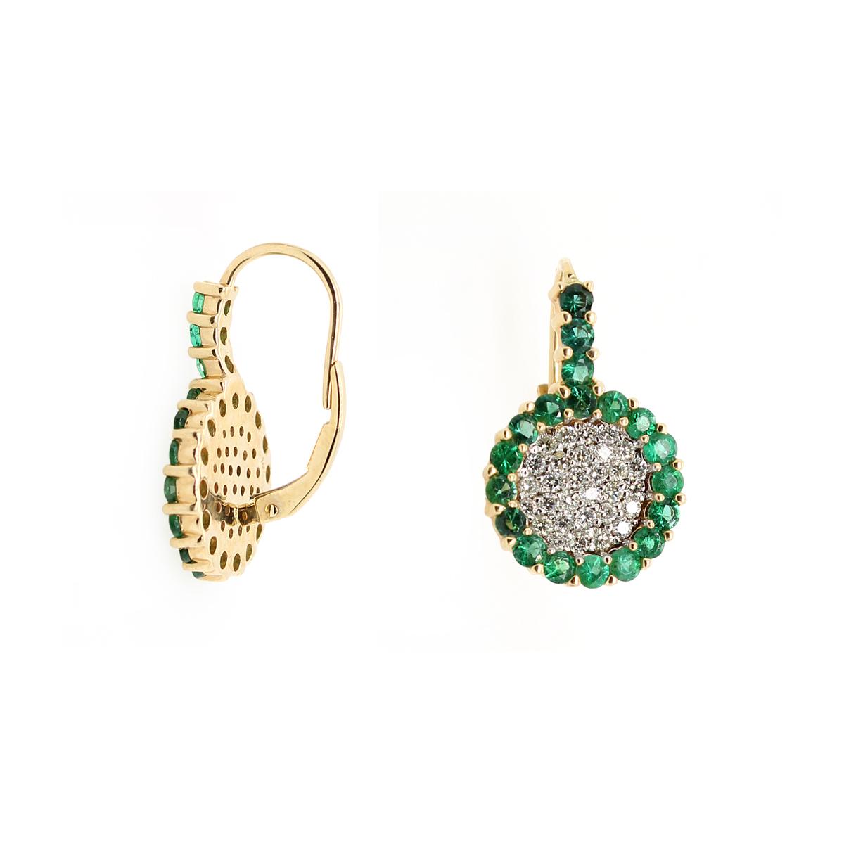 Ryan Gems 14 Karat Yellow Gold Emerald and Diamond Earrings