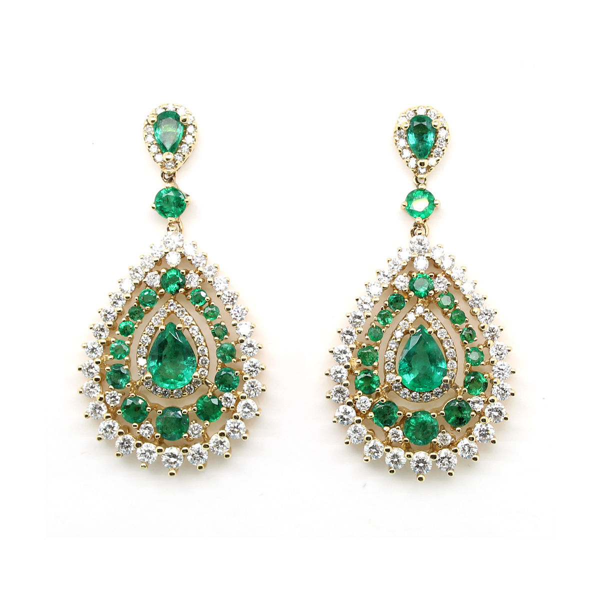 Ryan Gems 14 Karat Yellow Gold Pear Shaped Emerald and Diamond Dangle Earrings