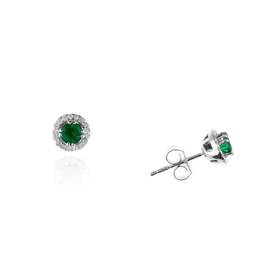 Ryan Gems 14 Karat White Gold Emerald and Diamond Stud Earrings