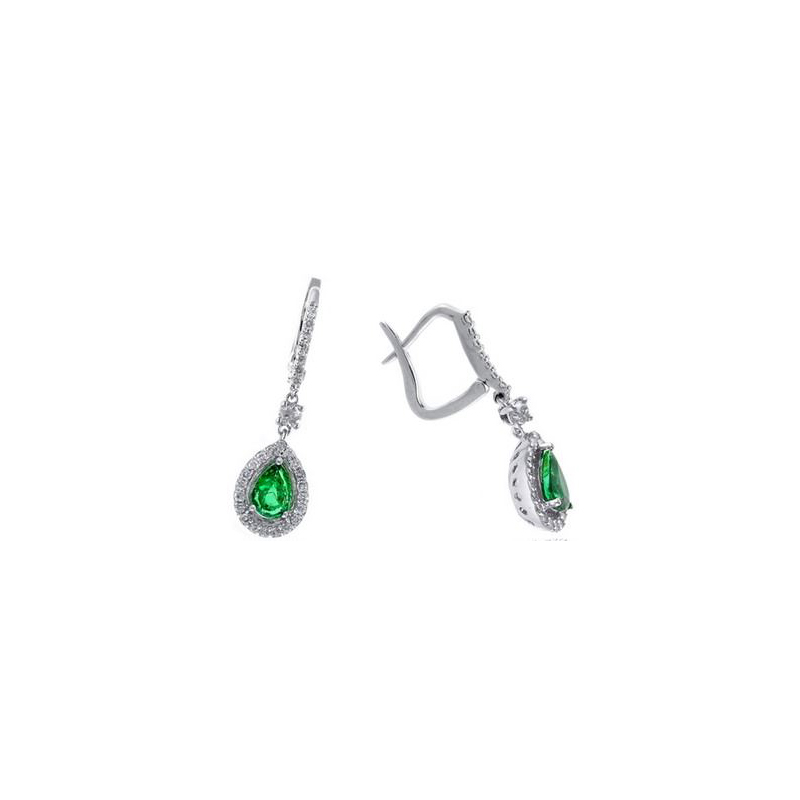 Ryan Gems 14 Karat White Gold Pear Shaped Emerald and Diamond Earrings