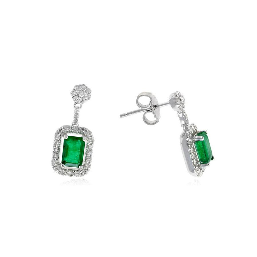 Ryan Gems 14 Karat White Gold Octagonal Emerald and Diamond Earrings