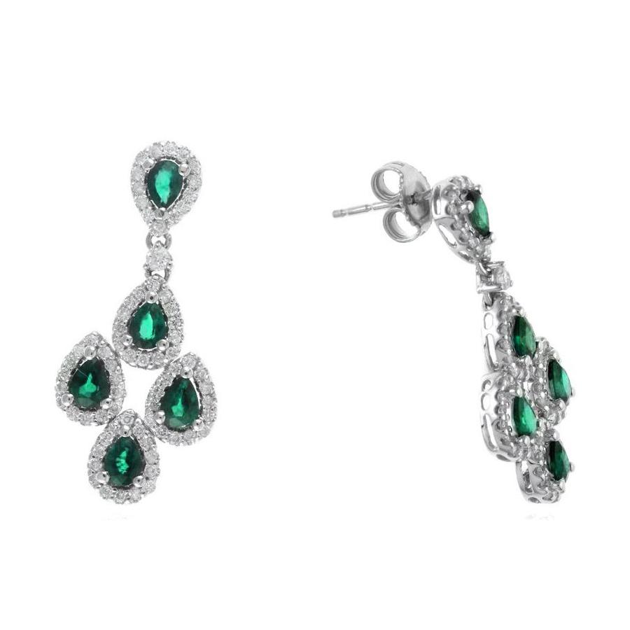 Ryan Gems 14 Karat White Gold Emerald and Diamond Chandelier Dangle Earrings