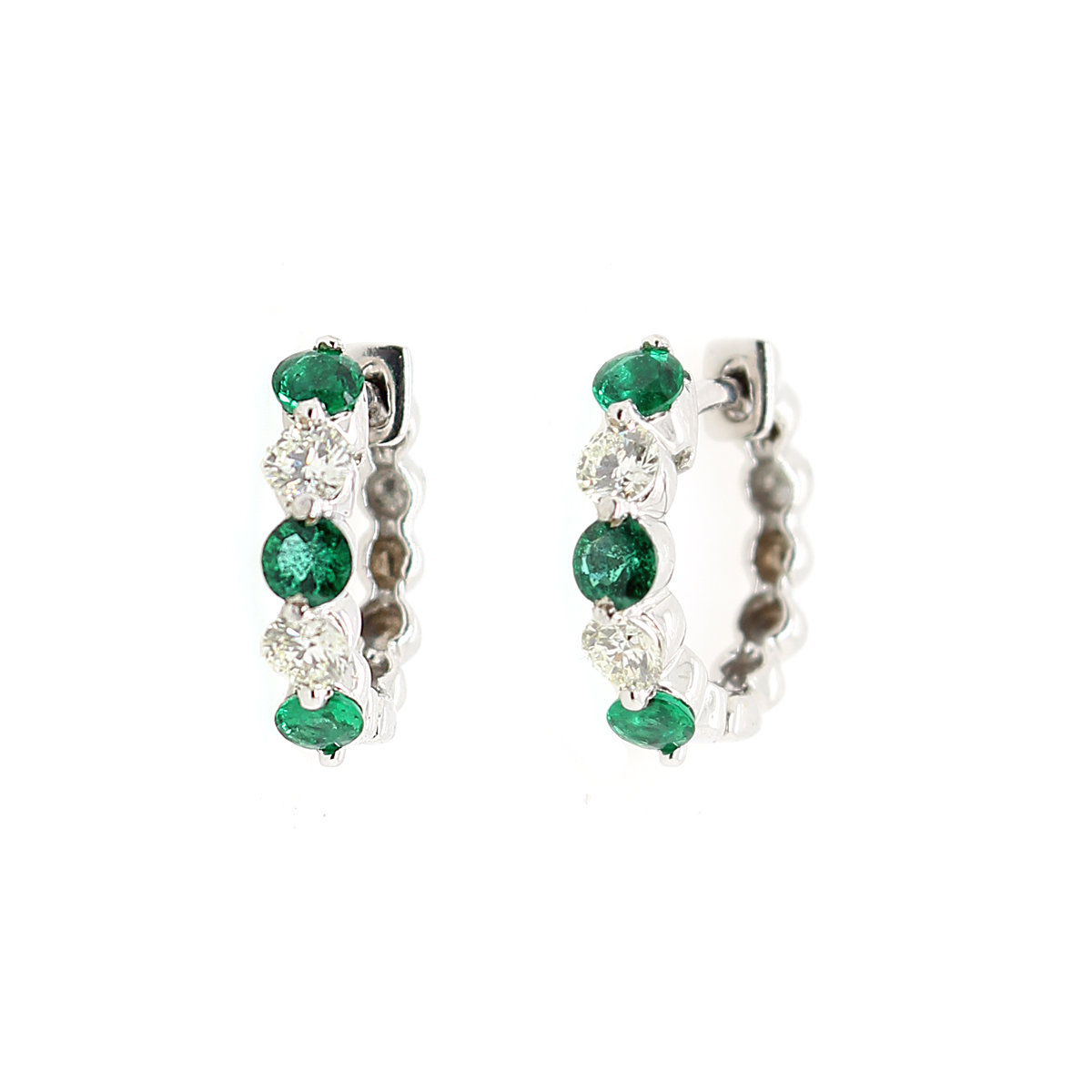 Ryan Gems 14 Karat White Gold Emerald and Diamond Huggie Earrings