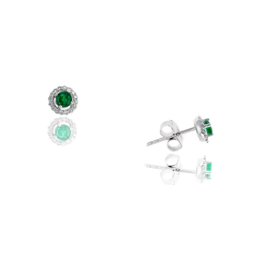 Ryan Gems 14 Karat White Gold Round Emerald and Diamond Stud Earrings