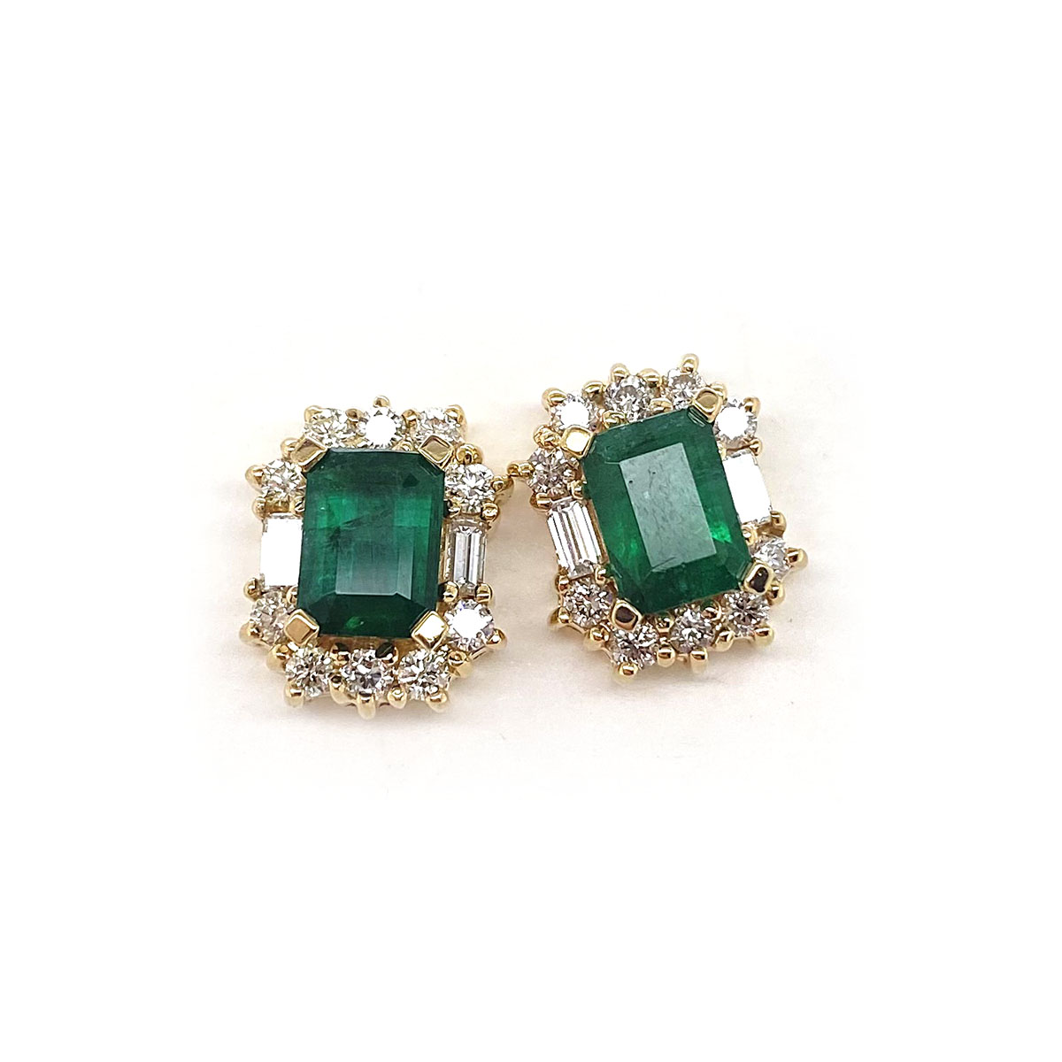 14 Karat Yellow Gold Emerald and Diamond Earrings