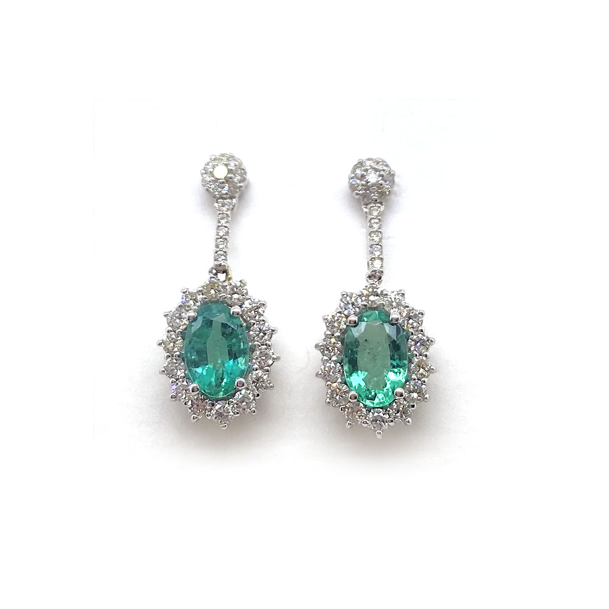 14 Karat White Gold Oval Emerald and Diamond Dangle Earrings