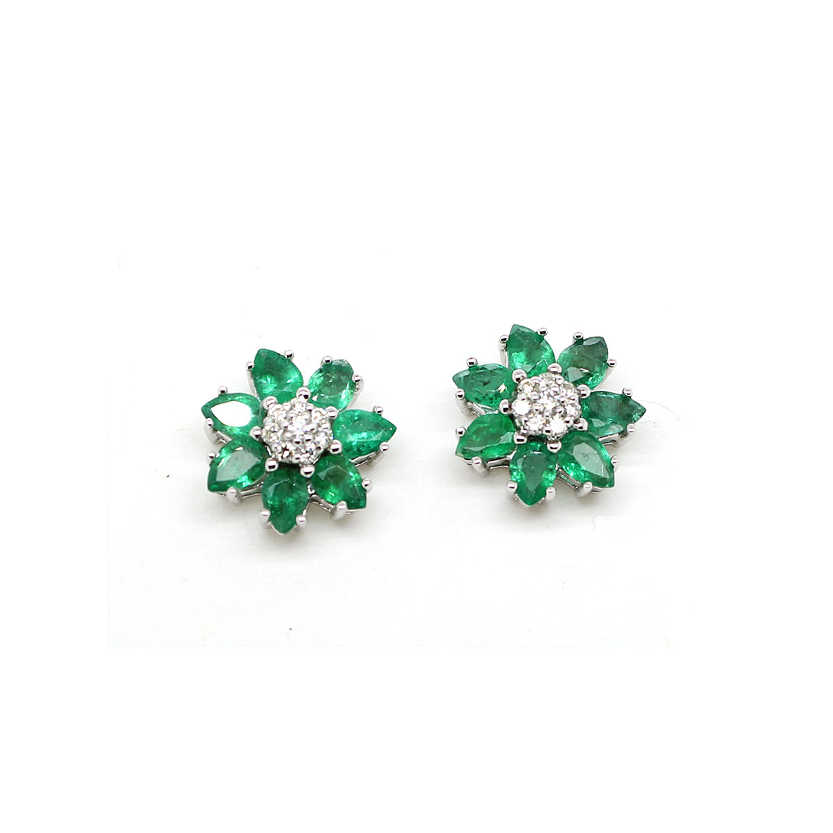 14 Karat White Gold Emerald and Diamond Flower Stud Earrings
