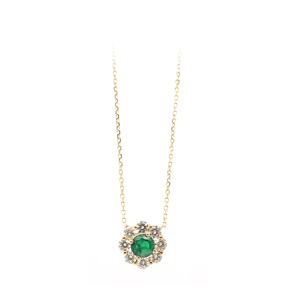 Ryan Gems 14 Karat Yellow Gold Emerald and Diamond Necklace