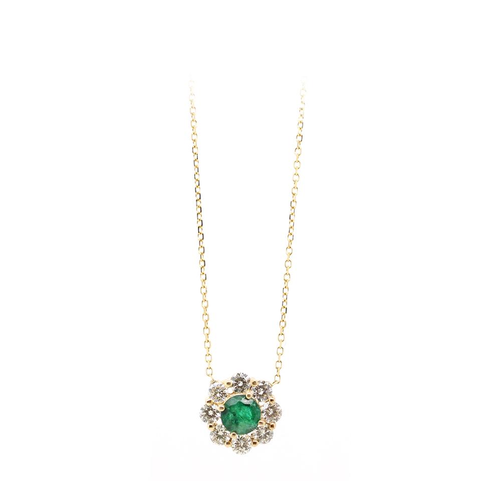 Ryan Gems 14 Karat Yellow Gold Emerald and Diamond Necklace