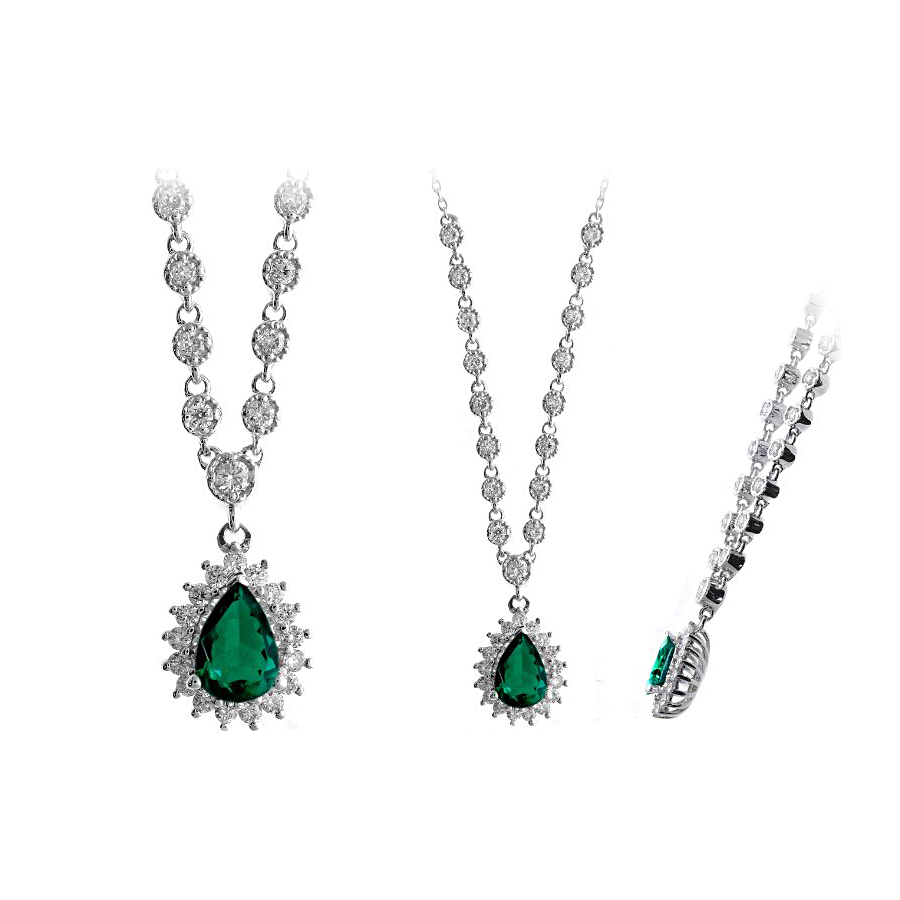 Ryan Gems 14 Karat White Gold Emerald and Diamond Necklace